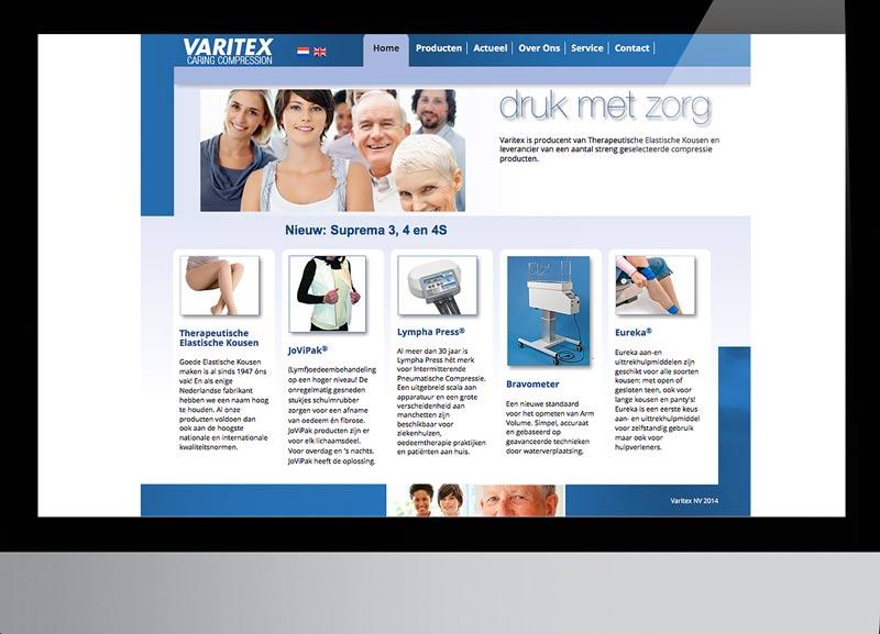 Vernieuwde huisstijl Varitex therapeutische kousen: website en diverse print-uitingen
